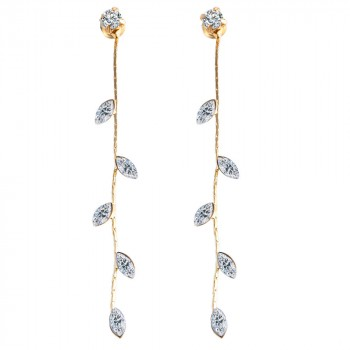 Dainty Austrian Crystal Leaf Stud Dangle Earrings